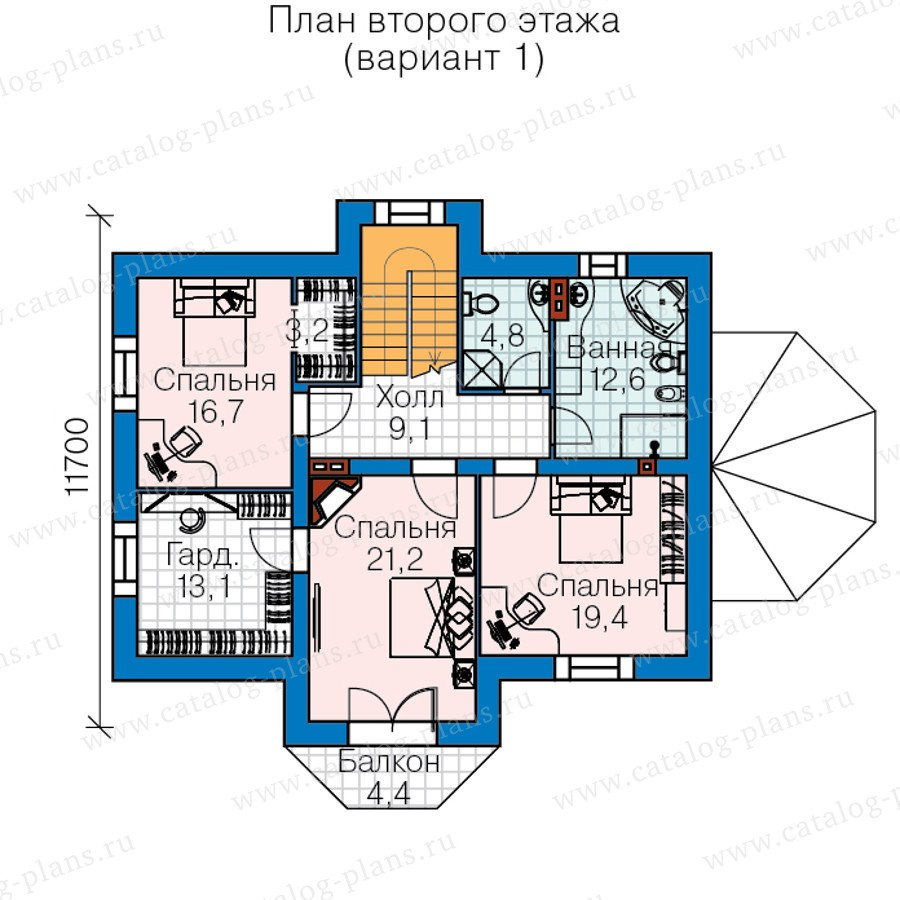 План 2-этажа проекта 60-44