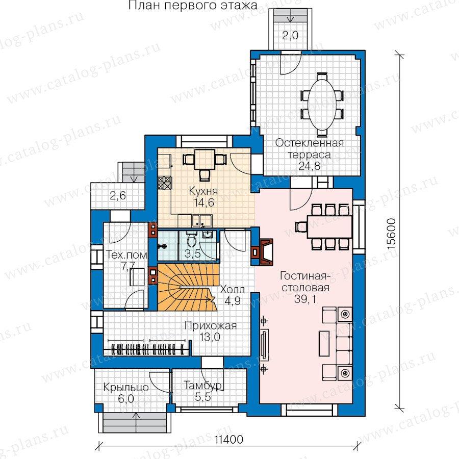 План 1-этажа проекта 60-42