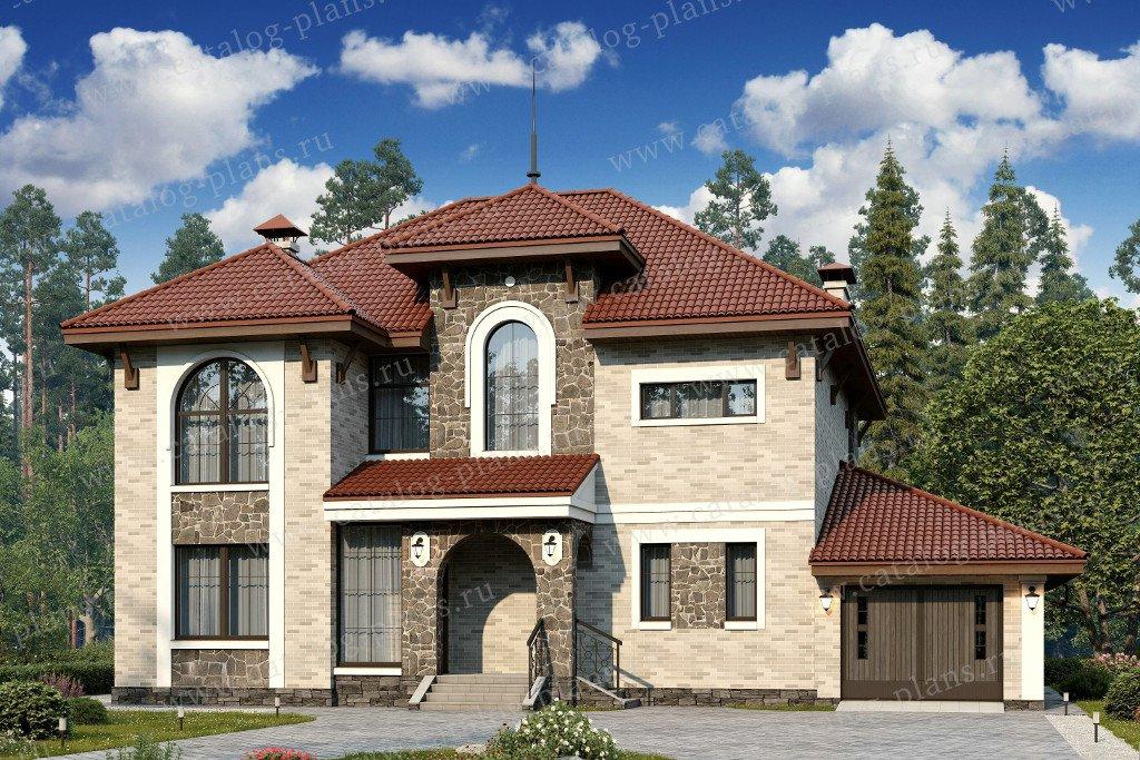 Проект жилой дом #60-39 материал - газобетон, стиль средиземный