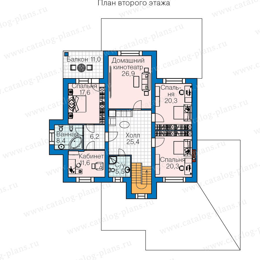 План 2-этажа проекта 60-40