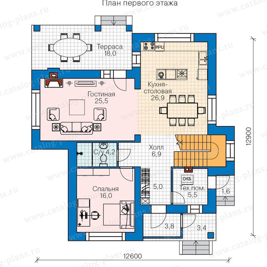 План 1-этажа проекта 60-38