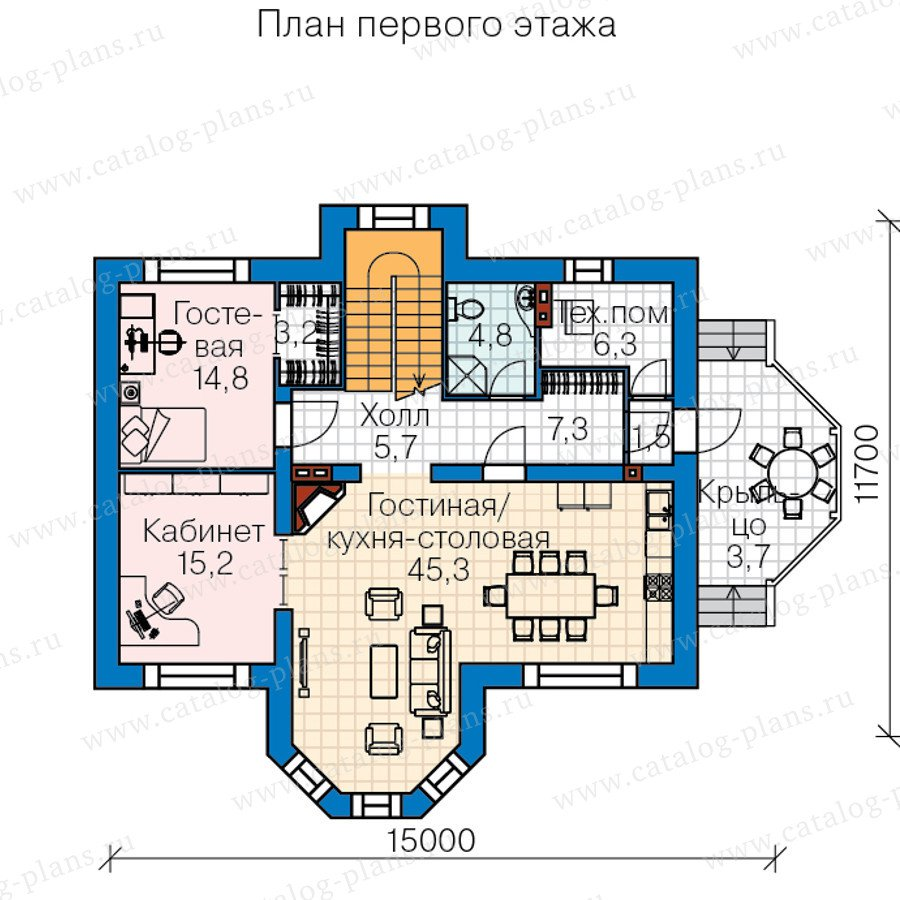 План 1-этажа проекта 60-44