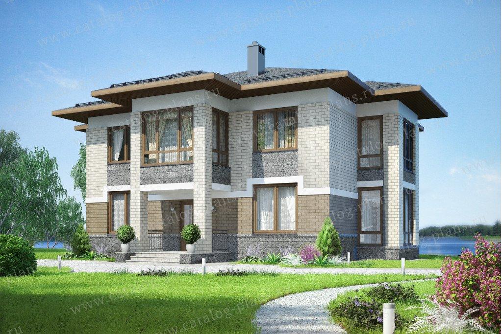 Проект жилой дом #60-25 материал - газобетон, стиль в стиле Райта