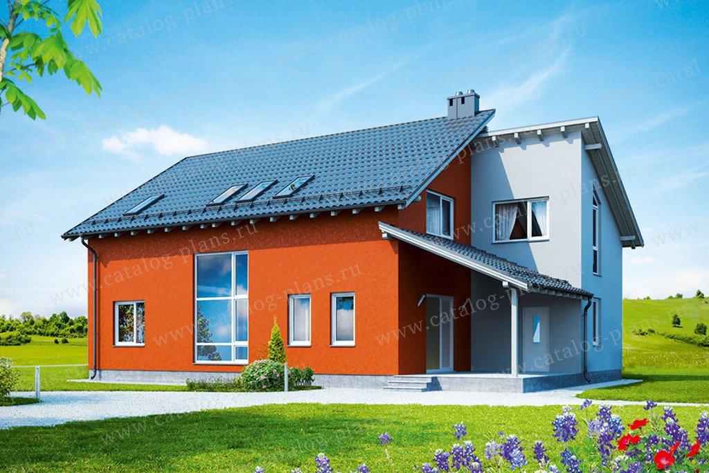 Проект жилой дом #60-28 материал - газобетон, стиль хай-тек