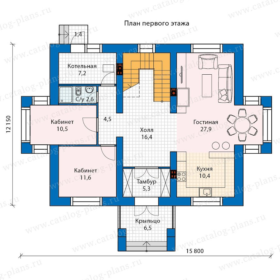 План 1-этажа проекта 60-25