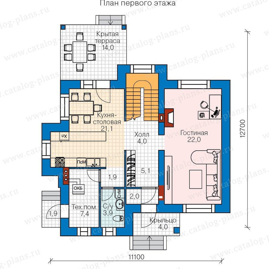 План 1-этажа проекта 60-37