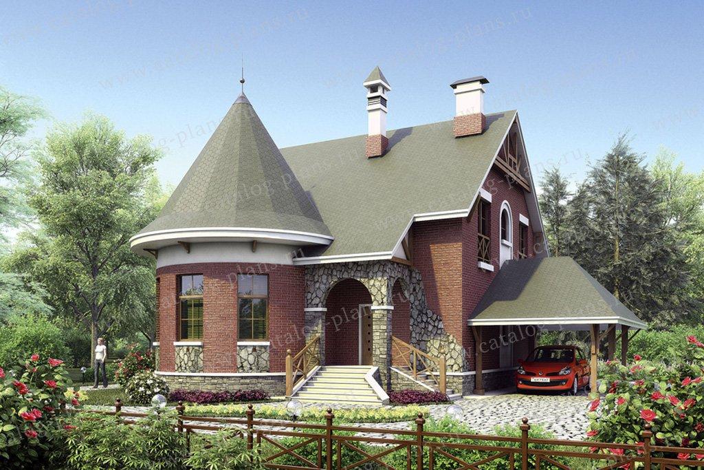 Проект жилой дом #35-70 материал - кирпич, стиль средневековый