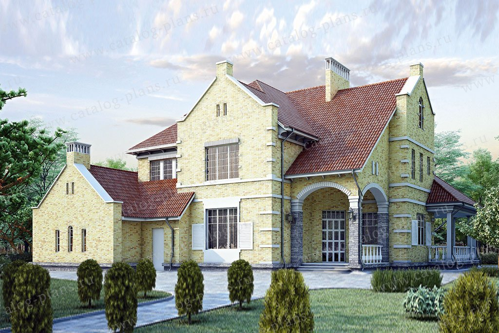 Проект жилой дом #35-12 материал - кирпич, стиль английский