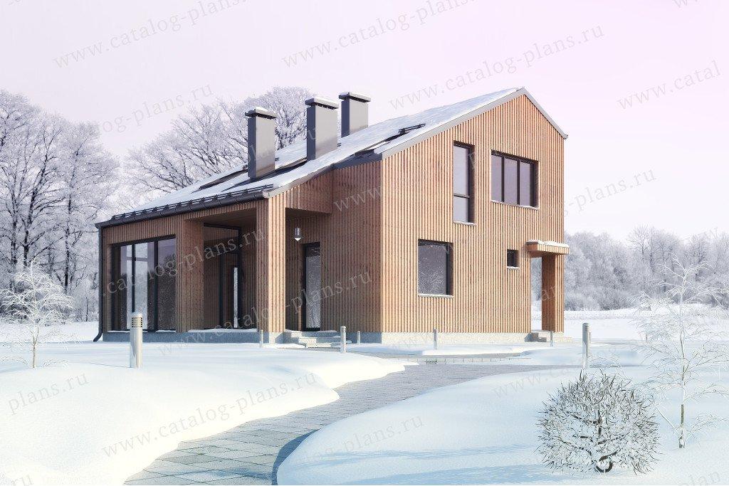Проект жилой дом #60-23 материал - газобетон, стиль хай-тек