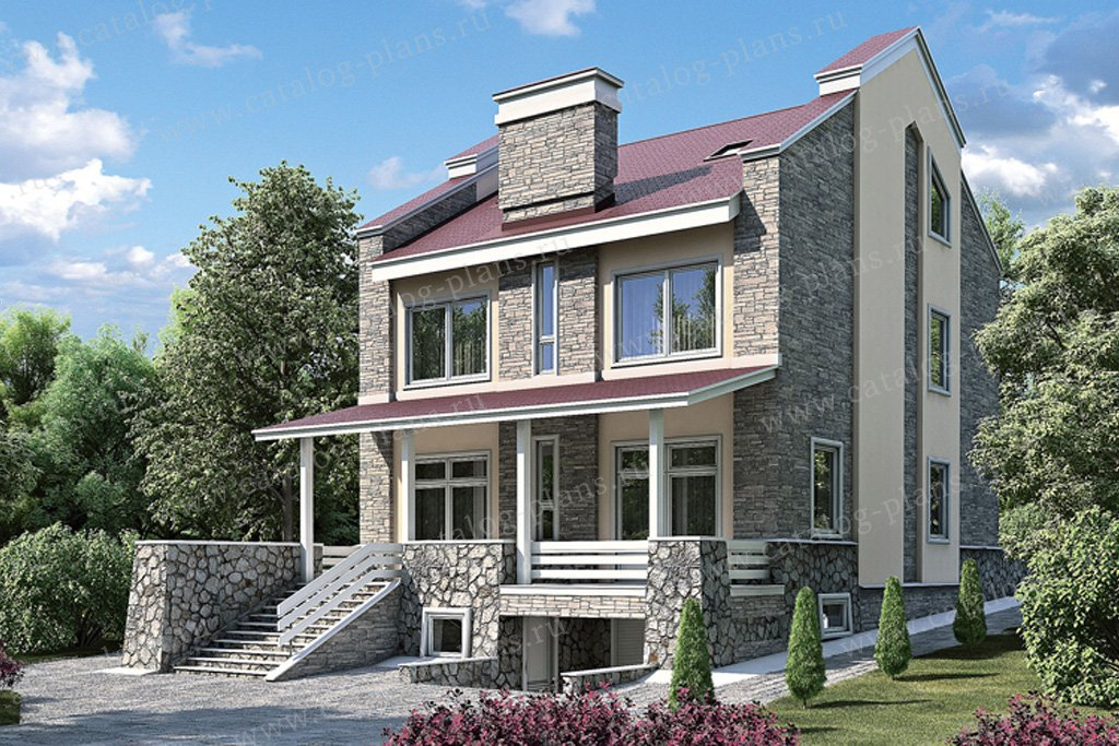 Проект жилой дом #35-90 материал - кирпич, стиль прованс