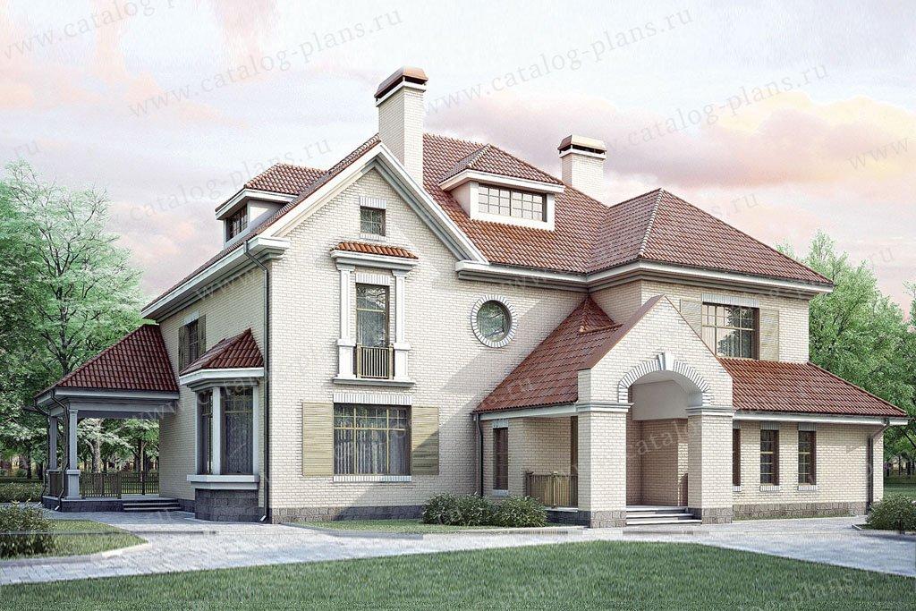 Проект жилой дом #35-09 материал - кирпич, стиль американский