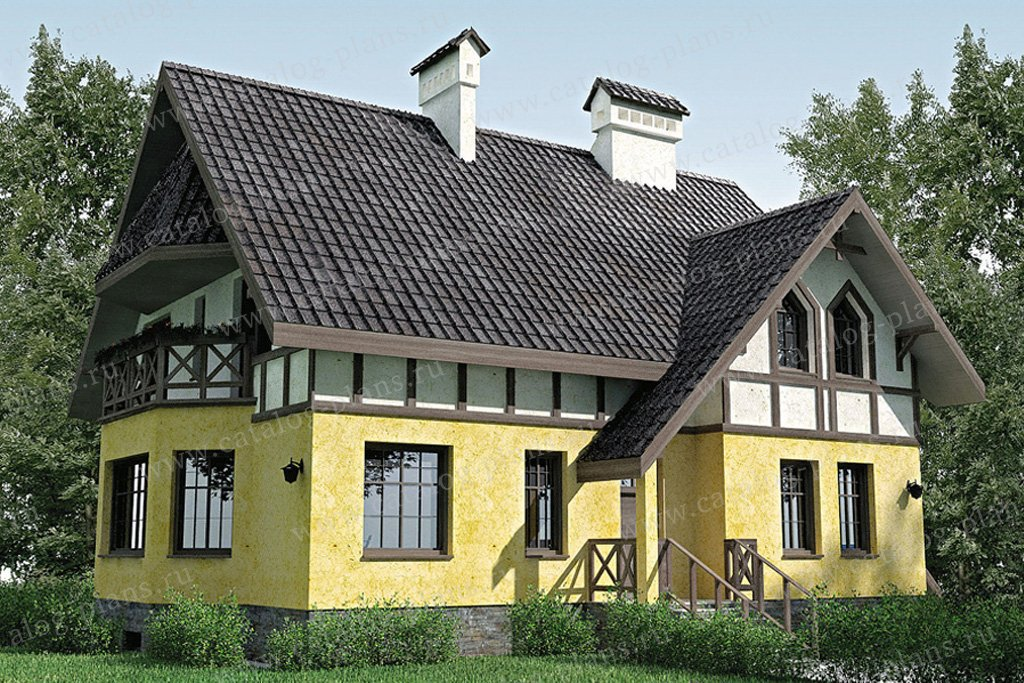 Проект жилой дом #35-04 материал - кирпич, стиль немецкий