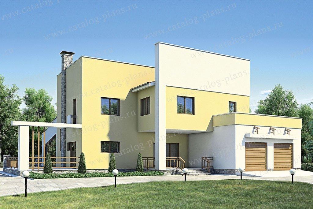 Проект жилой дом #35-67 материал - кирпич, стиль хай-тек