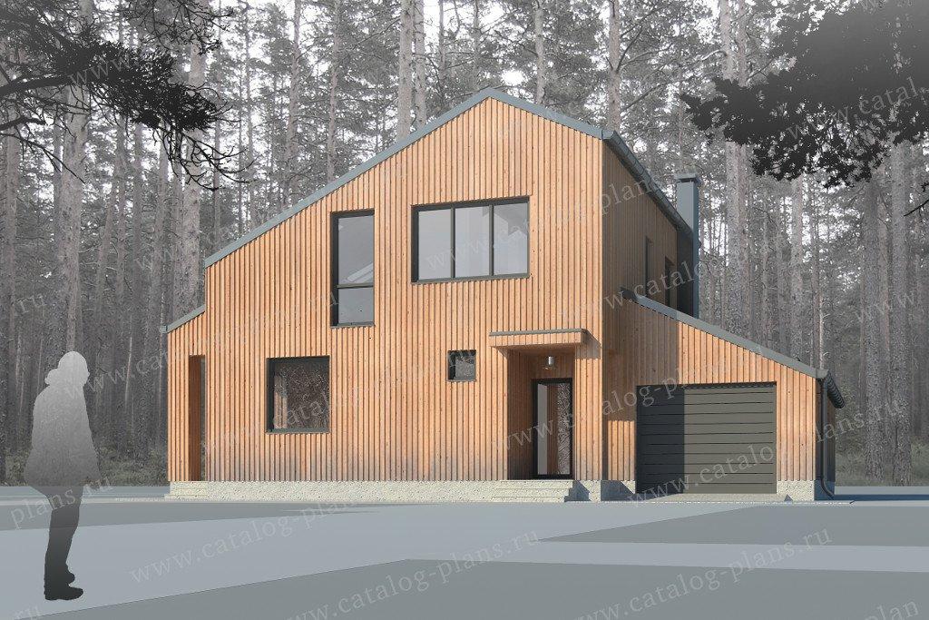 Проект жилой дом #60-24 материал - газобетон, стиль хай-тек