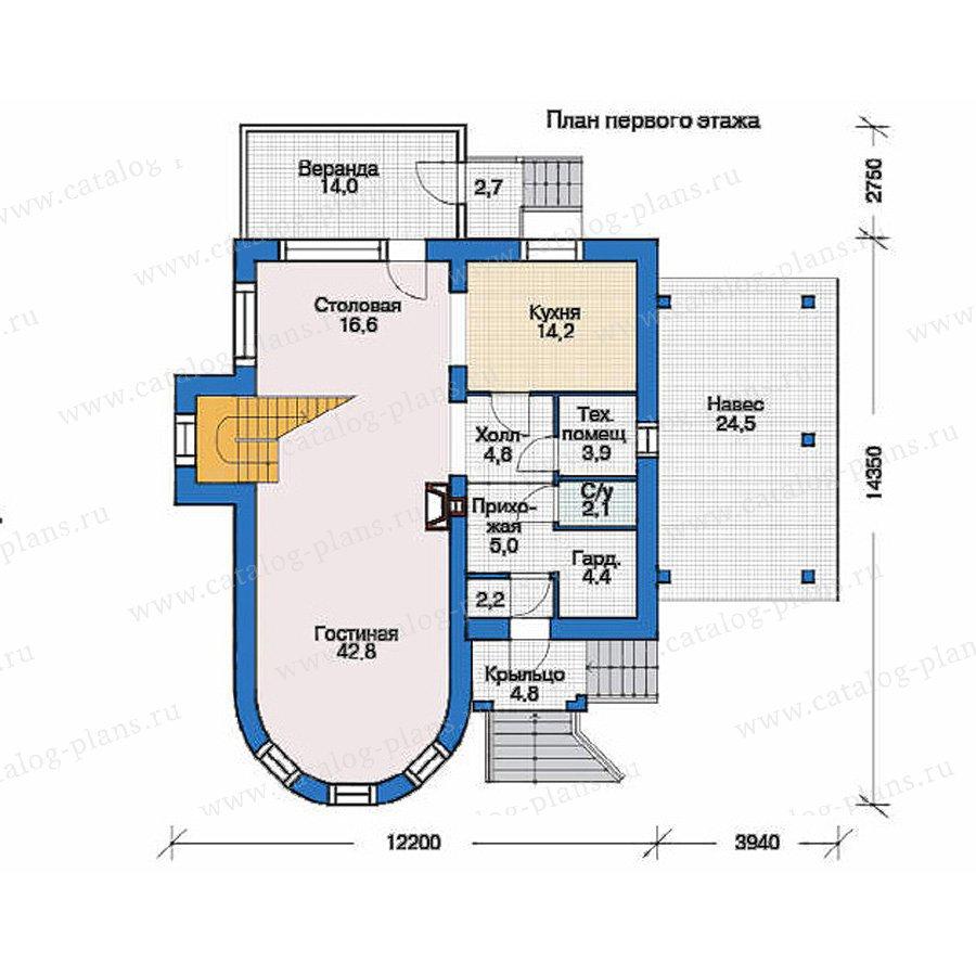 План 1-этажа проекта 35-70