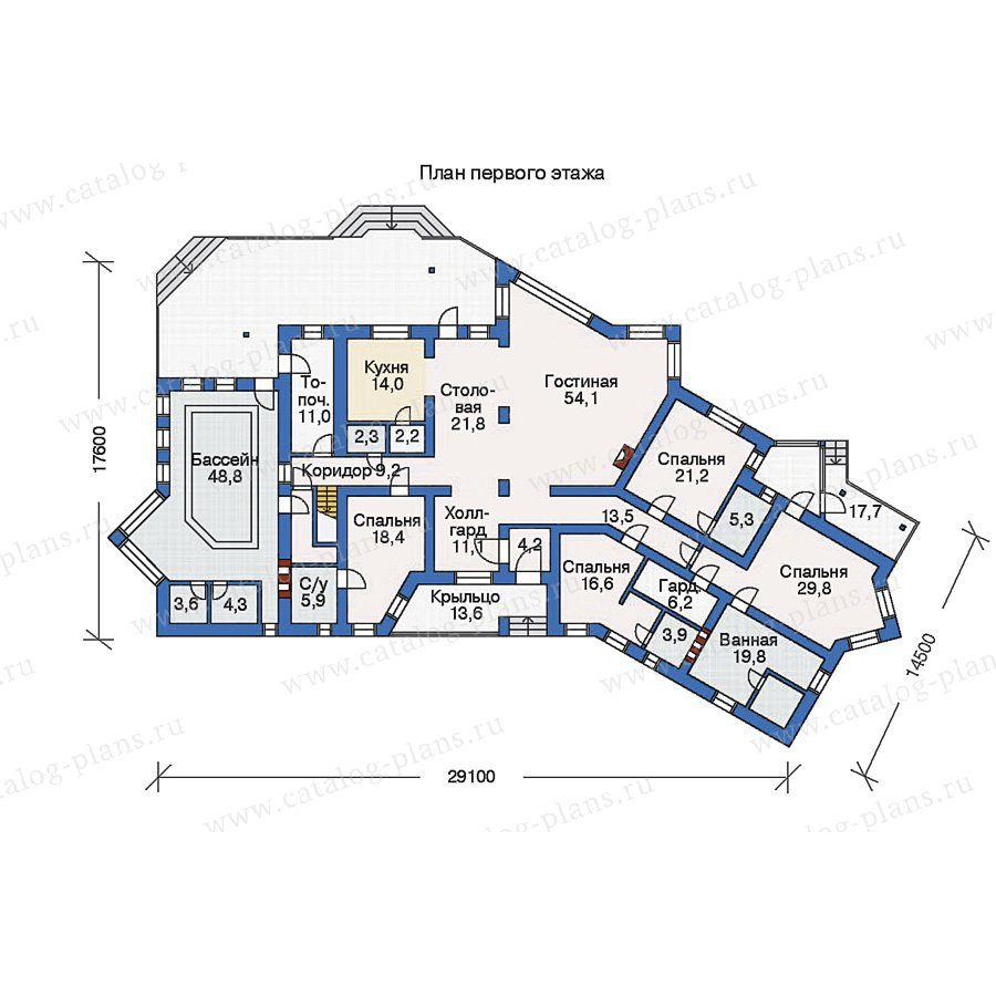 План 1-этажа проекта 35-54