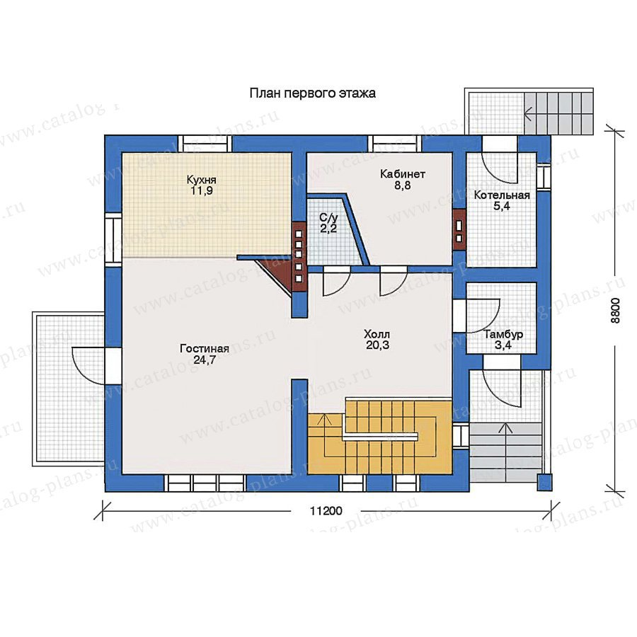 План 1-этажа проекта 34-92