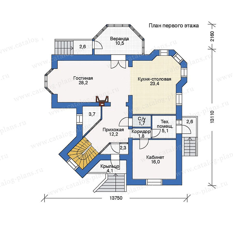 План 1-этажа проекта 34-46
