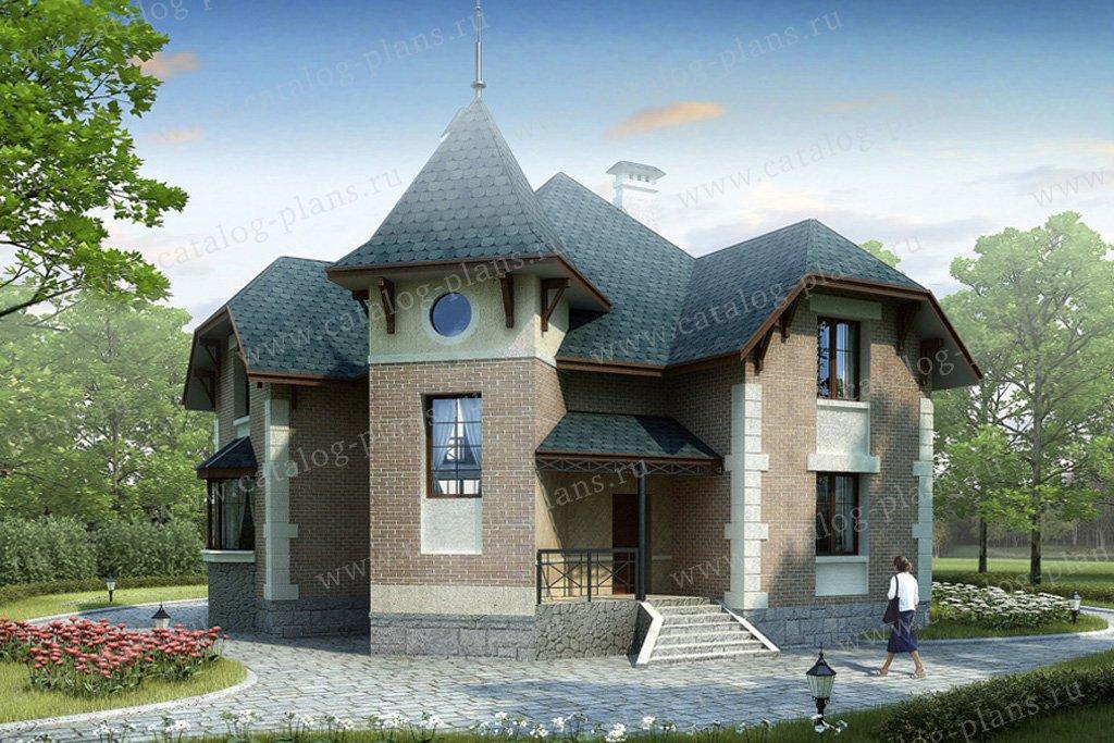Проект жилой дом #34-46 материал - кирпич, стиль средневековый