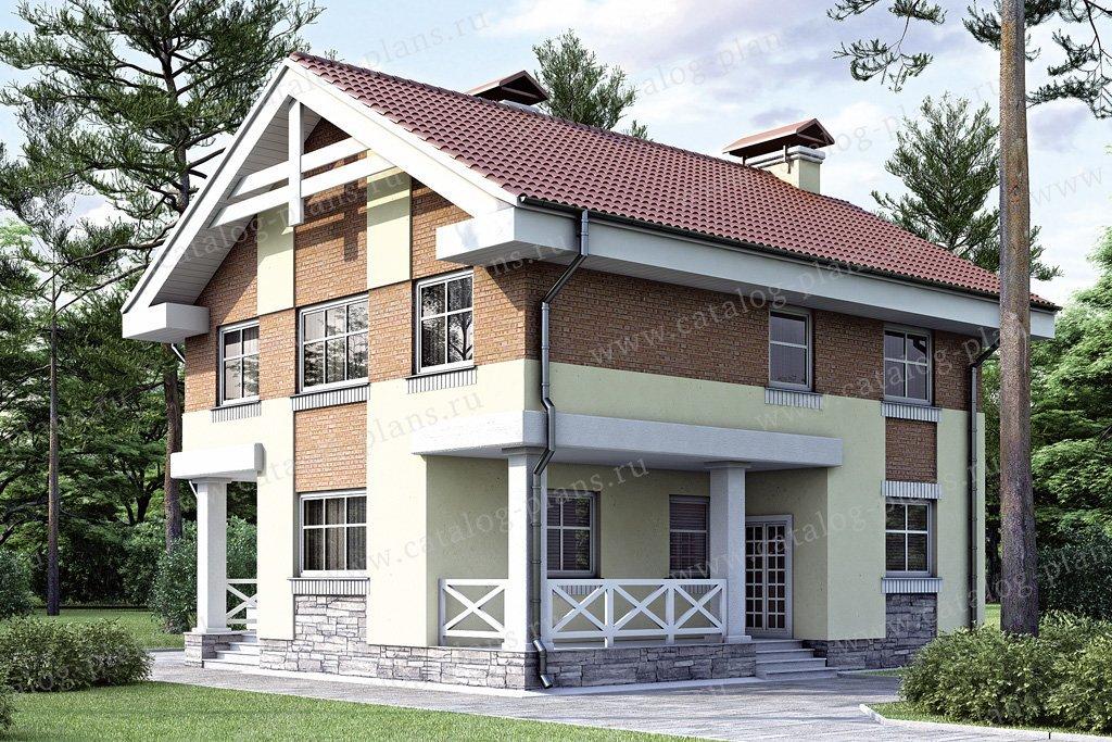 Проект жилой дом #34-61 материал - кирпич, стиль европейский