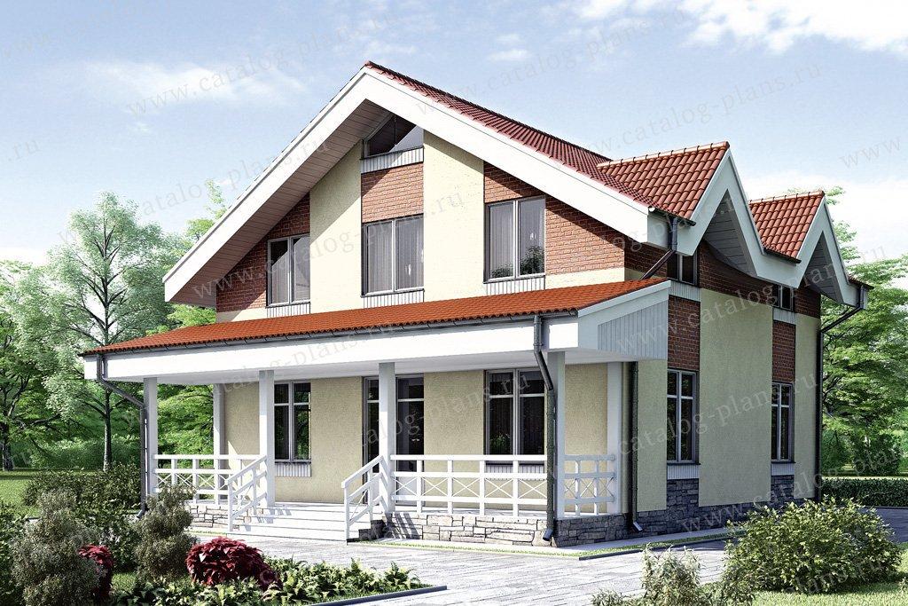 Проект жилой дом #34-57 материал - кирпич, стиль современный