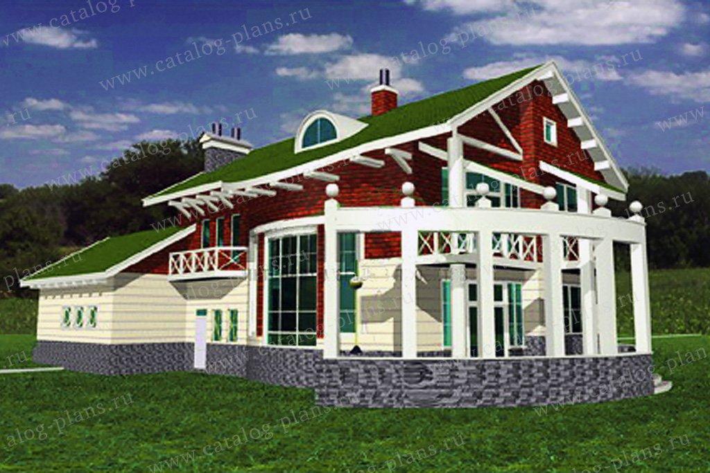 Проект жилой дом #34-14 материал - кирпич, стиль средиземный