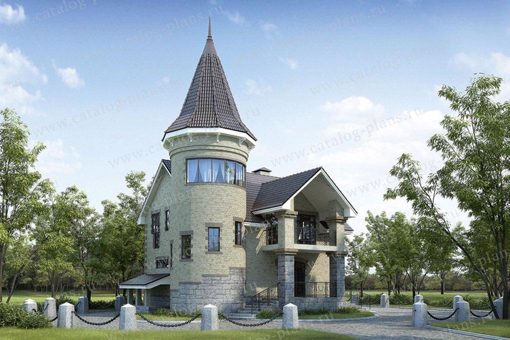 Проект жилой дом #34-56 материал - кирпич, стиль средневековый