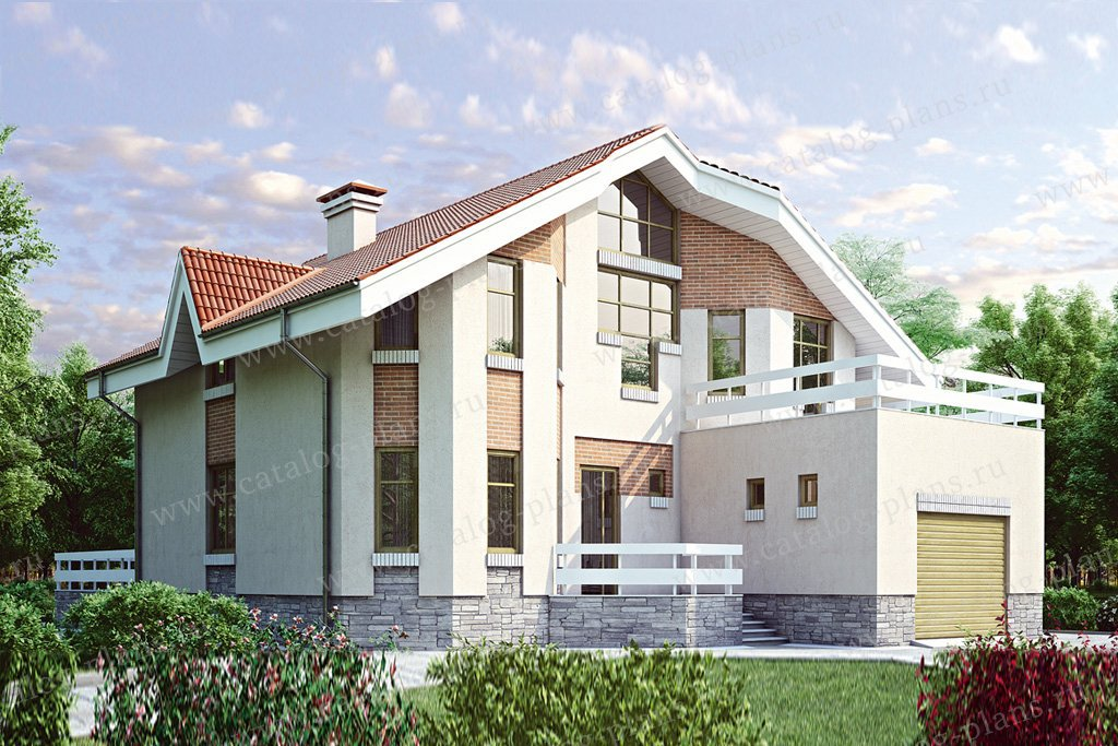 Проект жилой дом #34-87 материал - кирпич, стиль современный