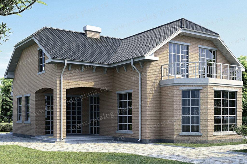 Проект жилой дом #34-34 материал - кирпич, стиль европейский