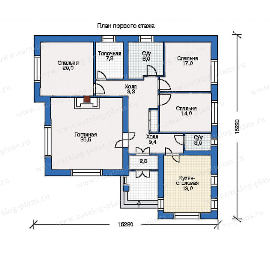 План 1-этажа проекта 34-68