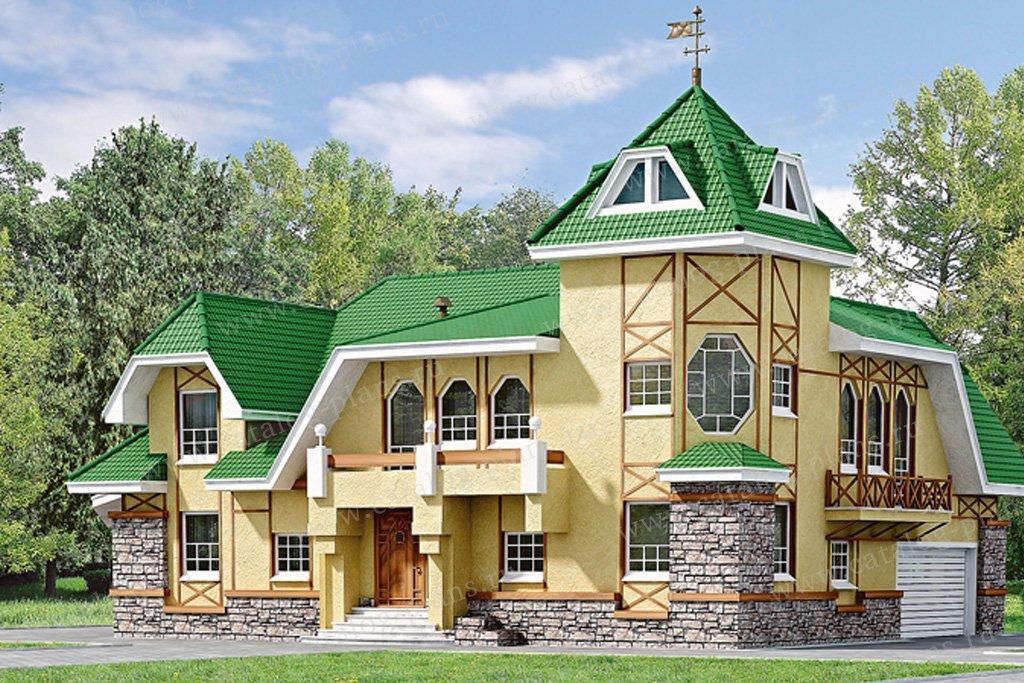 Проект жилой дом #33-19 материал - кирпич, стиль средневековый