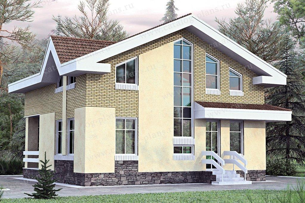 Проект жилой дом #33-72 материал - кирпич, стиль современный
