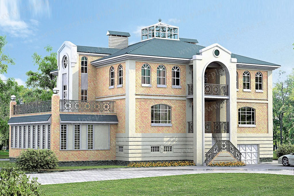 Проект жилой дом #33-34 материал - кирпич, стиль средиземный