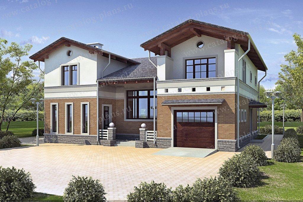 Проект жилой дом #45-45L материал - кирпич, стиль европейский