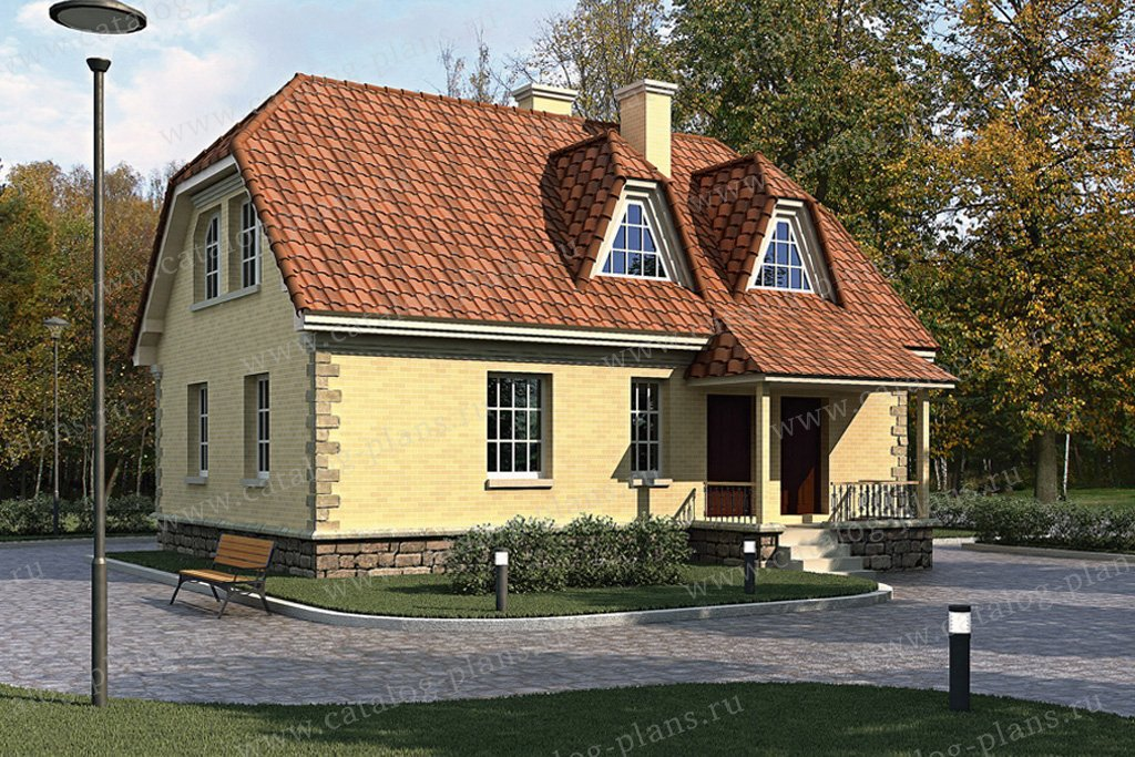 Проект жилой дом #33-86 материал - кирпич, стиль немецкий