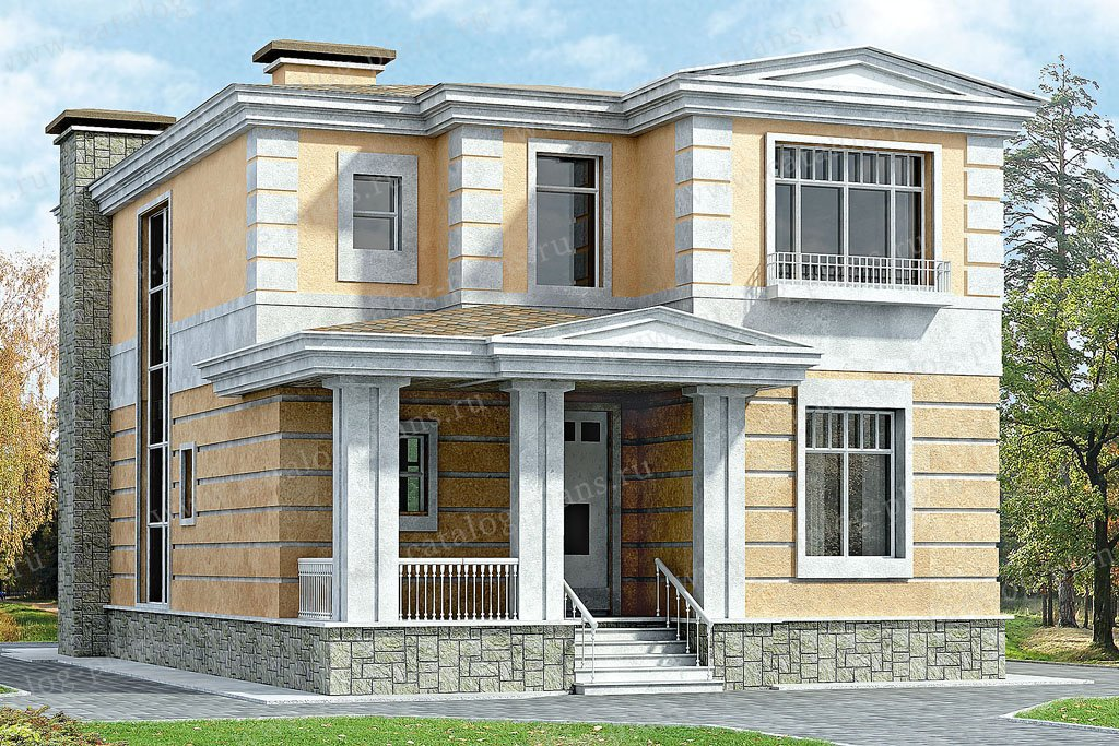 Проект жилой дом #33-27 материал - кирпич, стиль классический