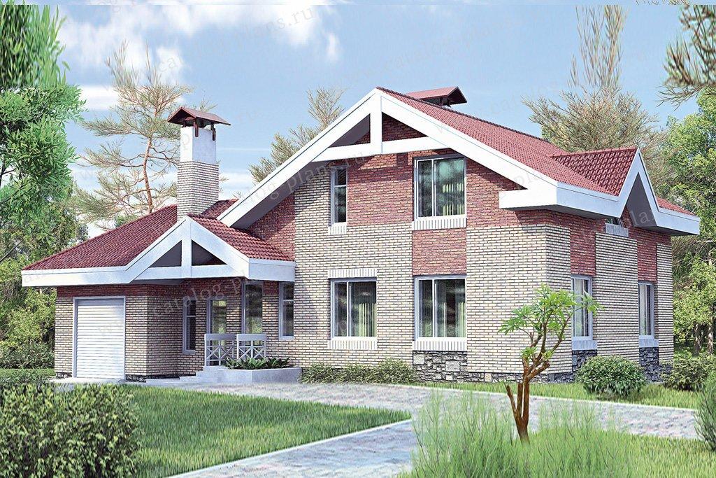 Проект жилой дом #33-73 материал - кирпич, стиль современный