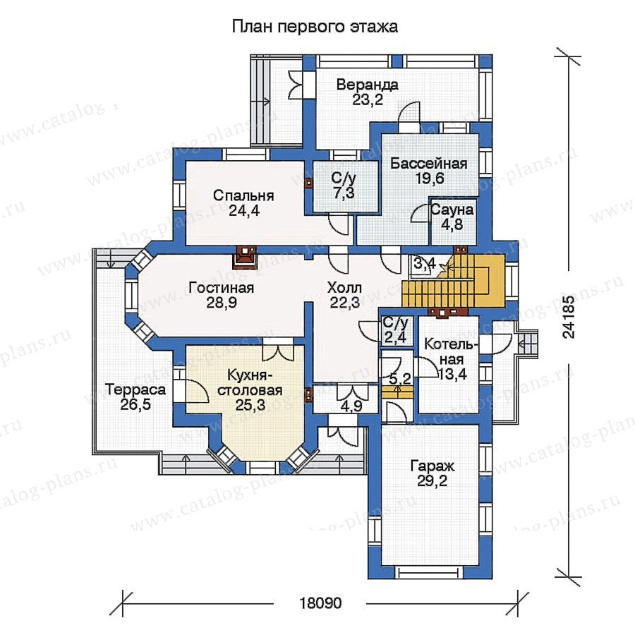 План 1-этажа проекта 33-88
