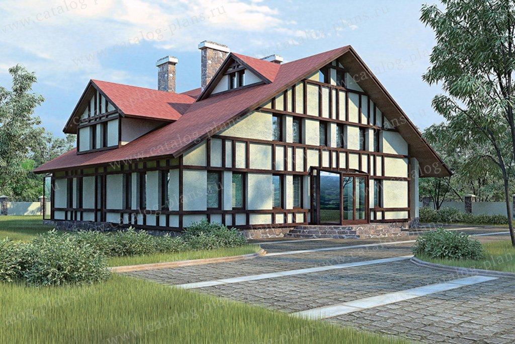 Проект жилой дом #33-51 материал - кирпич, стиль фахверк