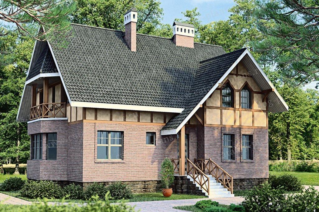 Проект жилой дом #33-91 материал - кирпич, стиль немецкий