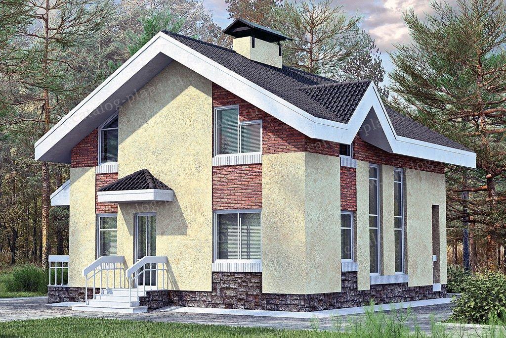 Проект жилой дом #33-70 материал - кирпич, стиль современный