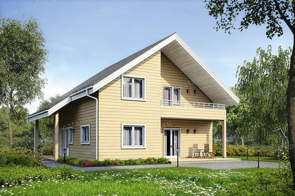 Проект двухэтажного деревянного дома с мансардой в современном стиле