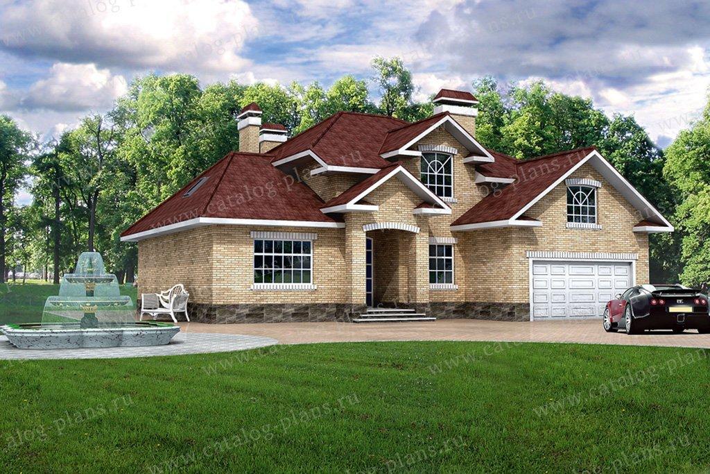 Проект жилой дом #31-88 материал - кирпич, стиль американский