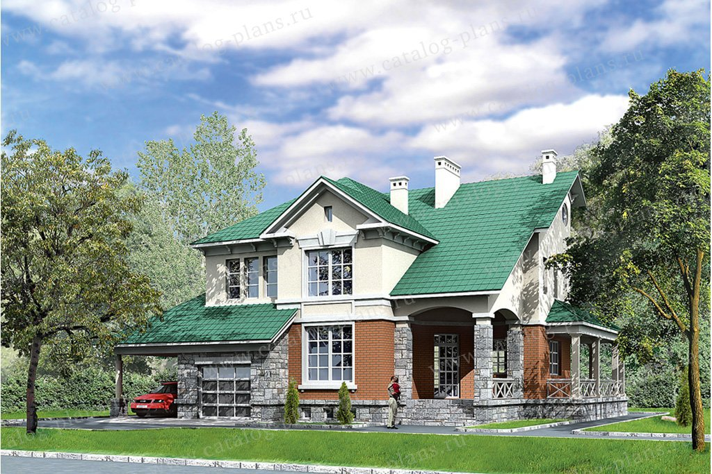 Проект жилой дом #31-15 материал - кирпич, стиль американский