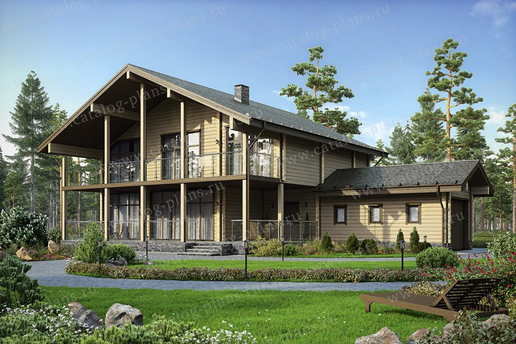 Проект жилой дом #13-04 материал - дерево, стиль скандинавский