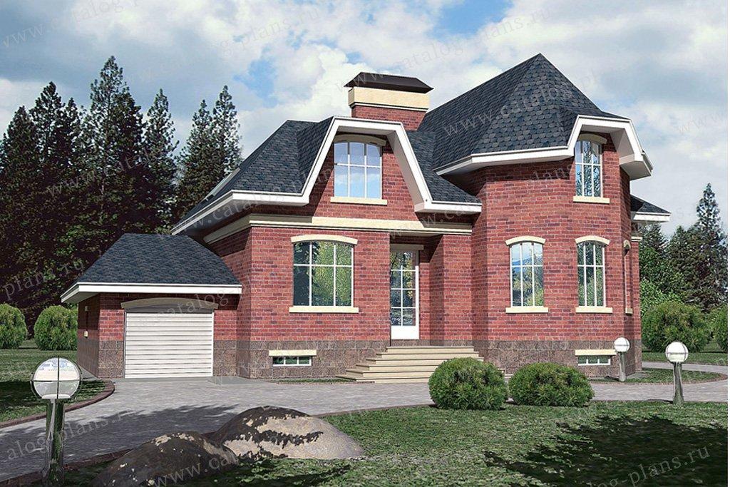 Проект жилой дом #31-79 материал - кирпич, стиль замковый