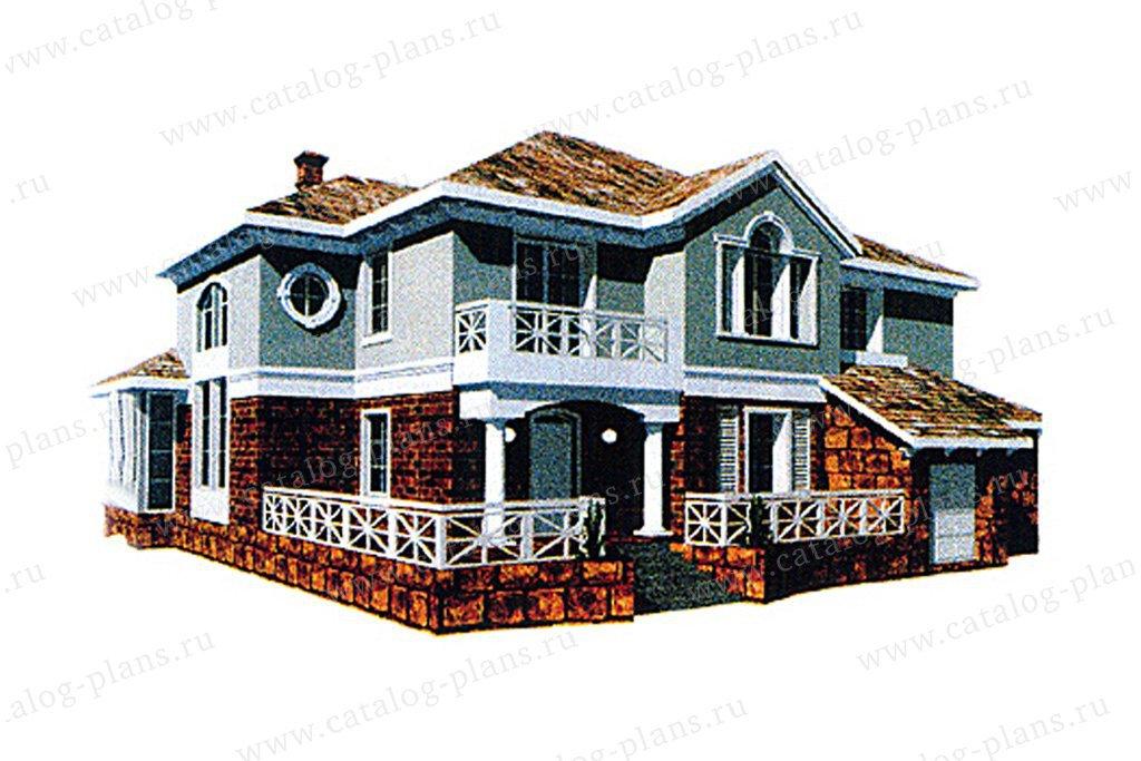 Проект жилой дом #31-09 материал - кирпич, стиль американский