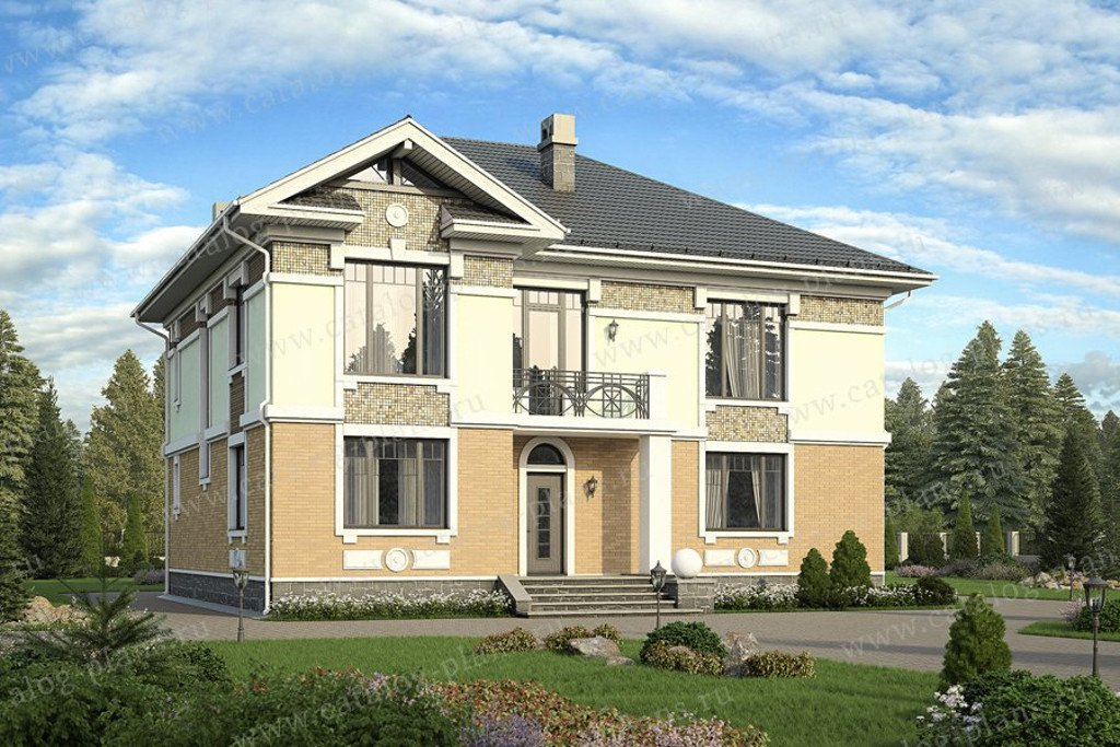 Проект жилой дом #59-95BKL материал - кирпич, стиль американский