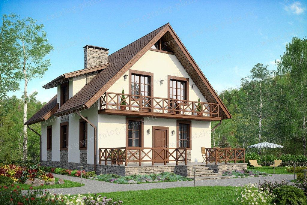 Проект двухэтажного кирпичного дома с мансардой 59-99k в ска.