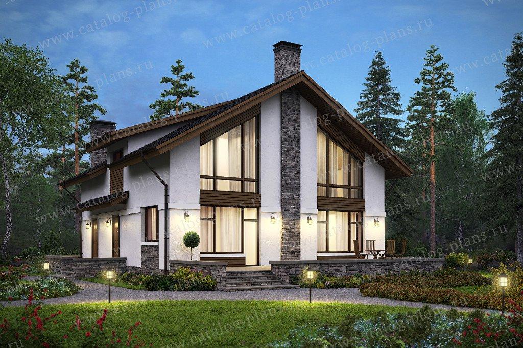 Проект жилой дом #59-98L материал - кирпич, стиль скандинавский
